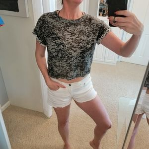 Anthro Cloth & Stone Burnout Crop Top Size Small